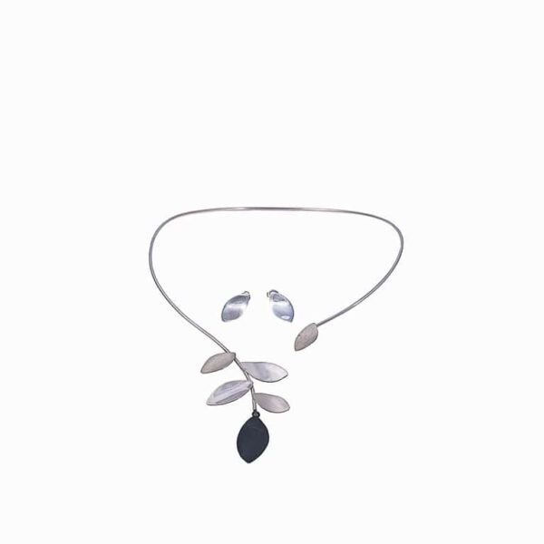 collar y aretes hojas de plata 925