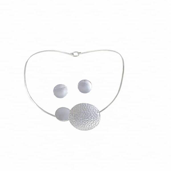 collar y aretes círculos de plata 925
