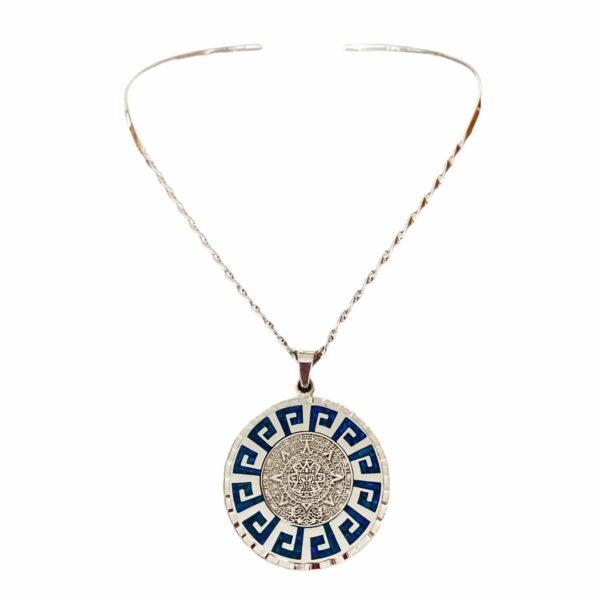 Collar azul azteca de plata