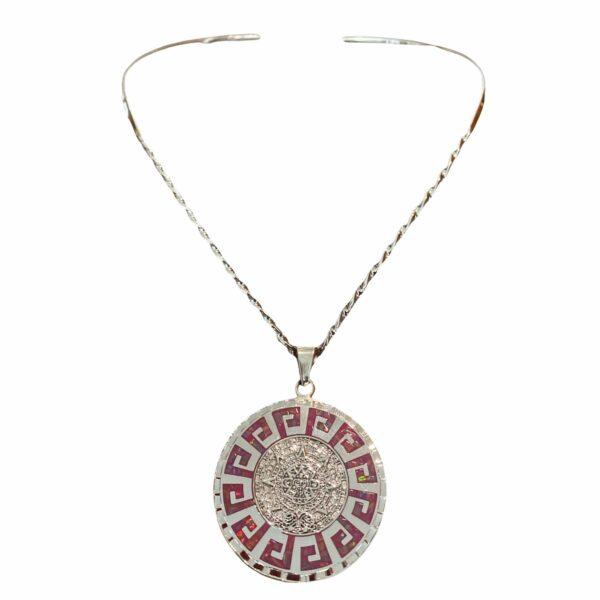 Collar Calendario Azteca Rosa de Plata