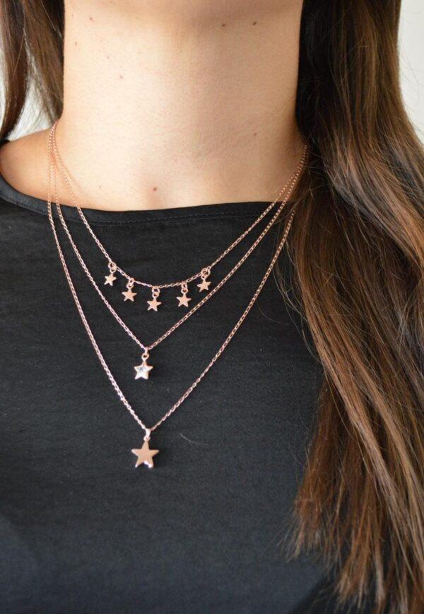 Collar Estrellas de Plata Rosa 925 1