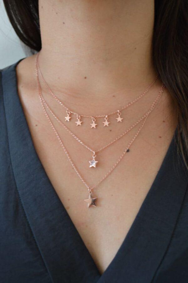 Collar Estrellas de Plata Rosa 925